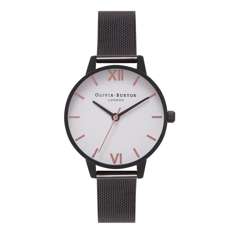 Olivia Burton WHITE DIAL IP BLACK MESH & ROSE GOLD WATCH