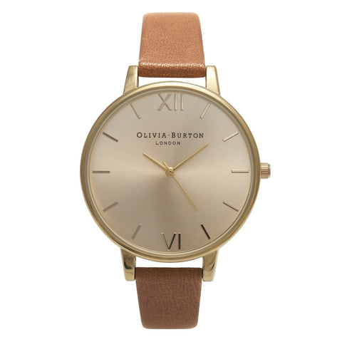 Olivia Burton BIG DIAL TAN AND GOLD WATCH