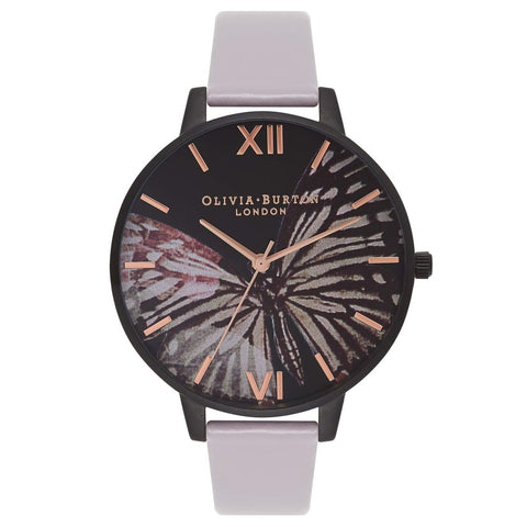 Olivia Burton AFTER DARK BUTTERFLY GREY LILAC MATTE BLACK & ROSE GOLD WATCH