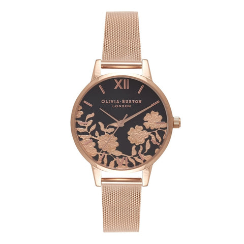 Lace Detail Black Dial & Rose Gold Mesh