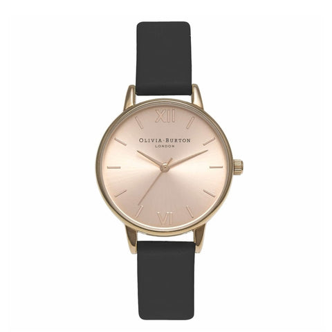 Midi Dial Black and Rose Gold Olivia Burton watch