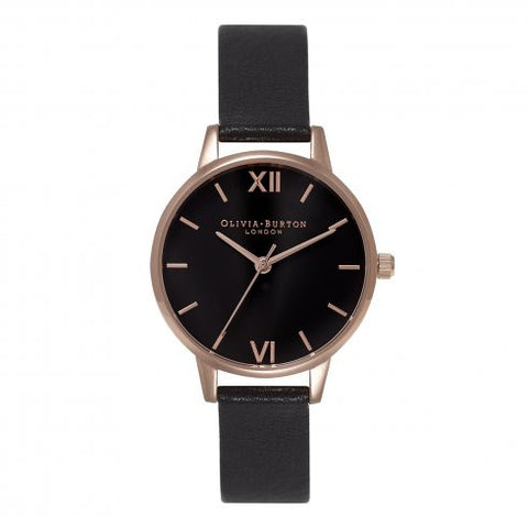 Midi Dial Black Dial and Gold Olivia Burton Watch