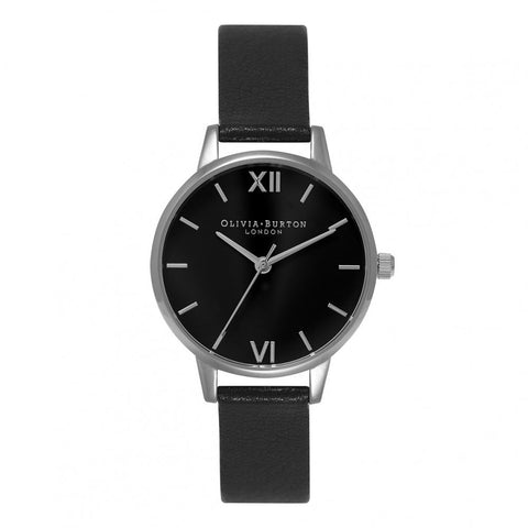 Midi Dial Black Dial and Silver Olivia Burton Watch