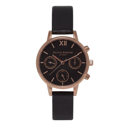 Midi Dial Chrono Detail Black Dial and Rose Gold Watch