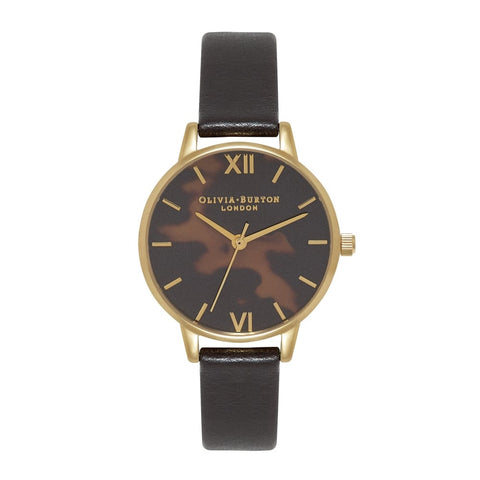 Midi Dial Tortoiseshell Black and Gold Watch