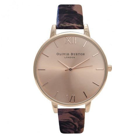 Painterly Prints Floral Strap and Rose Gold watch
