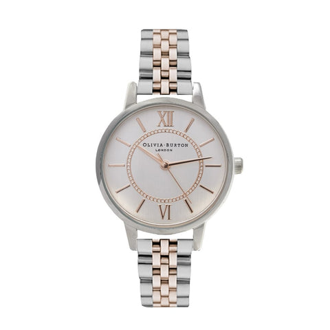 Wonderland Bracelet style Silver and Rose Gold Mix watch