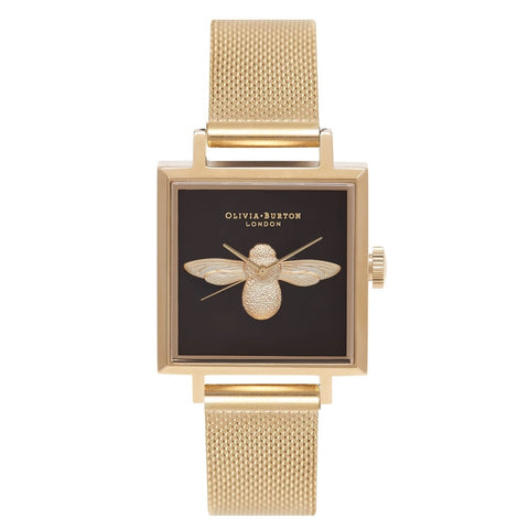 3D Moulded Bee Square Dial Olivia Burton Gold Mesh Watch