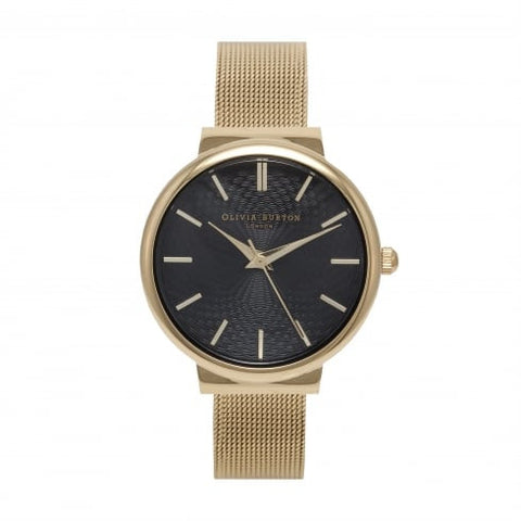 The Hackney Black Dial and Gold Mesh watch