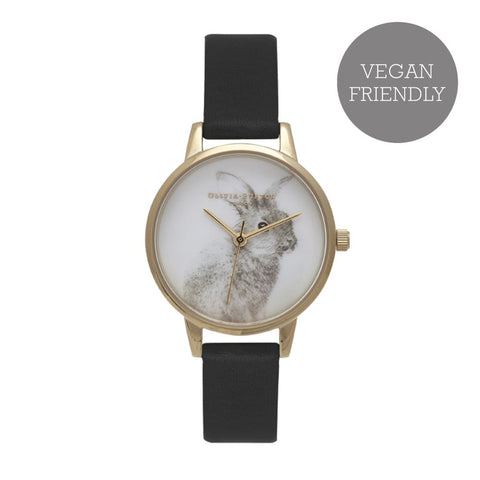 Olivia Burton Vegan Friendly Woodland Bunny Black and Gold Watch