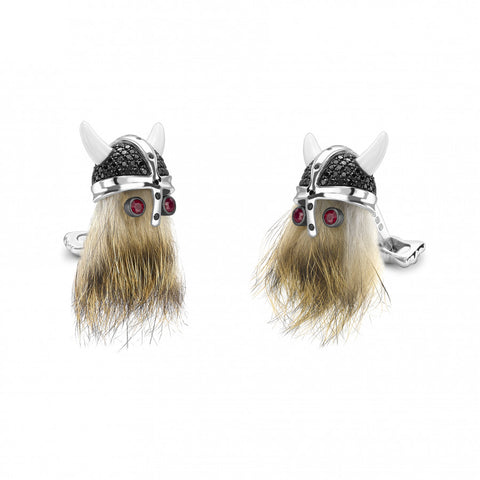 Deakin & Francis Hairy Viking Skull with Black Spinel Helmet and Ruby Eye Cufflinks