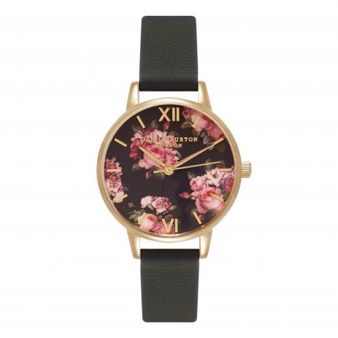 Winter Garden Midi Rose Black and Gold Watch