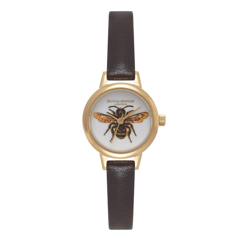 Woodland Mini Bee Dark Chocolate & Gold watch