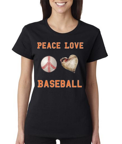 """PEACE LOVE BASEBALL"" Ladies Heavy Cotton Short Sleeve T-Shirt"
