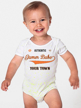 """GAMER BABE FROM {INSERT YOUR TOWN HERE}"" American Apparel Baby Rib Short Sleeve One-Piece"