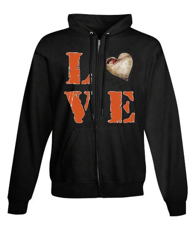 """LOVE BASEBALL"" American Apparel Unisex California Fleece Pullover Hoodie"