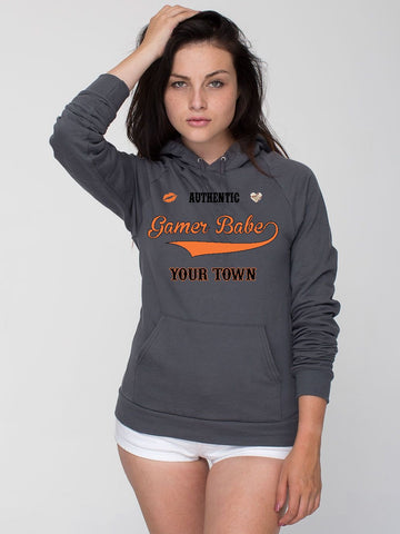 """GAMER BABE FROM {INSERT YOR TOWN HERE}"" American Apparel Unisex California Fleece Pullover Hoodie"