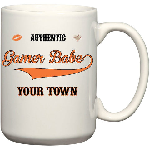 """GAMER BABE from {INSERT YOUR TOWN HERE}"" 15 oz. Ceramic Mug"