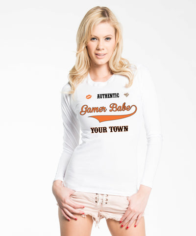 """GAMER BABE FROM {INSERT YOUR TOWN HERE} Next Level Womens' Long Sleeve Crew"