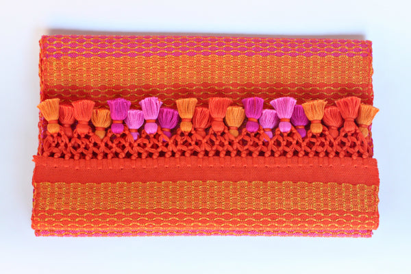 Alegria Table Runner with Poms, Tangerine
