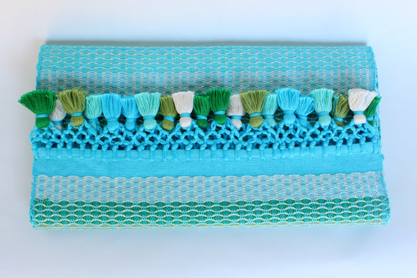 Alegria Table Runner with Poms, Turquoise