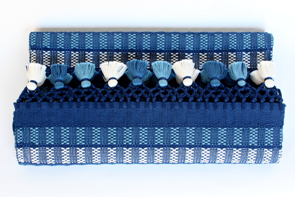 Sombra Table Runner with Poms, Navy