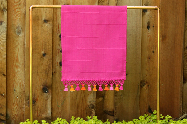 Joya Hand Towel with Mini Poms, Fuchsia