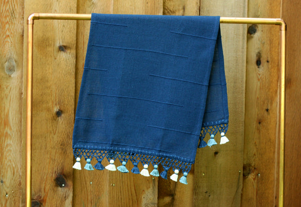 Joya Hand Towel with Mini Poms, Navy