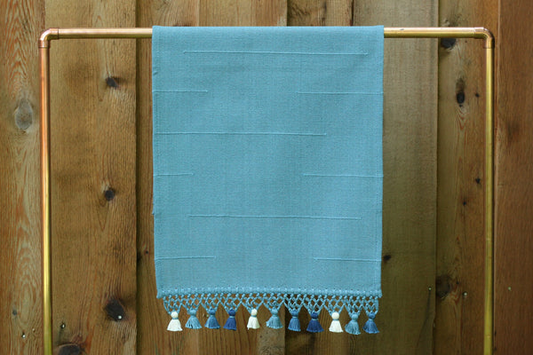 Joya Hand Towel with Mini Poms, Slate