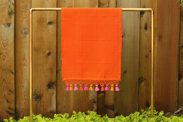 Joya Hand Towel with Mini Poms, Tangerine