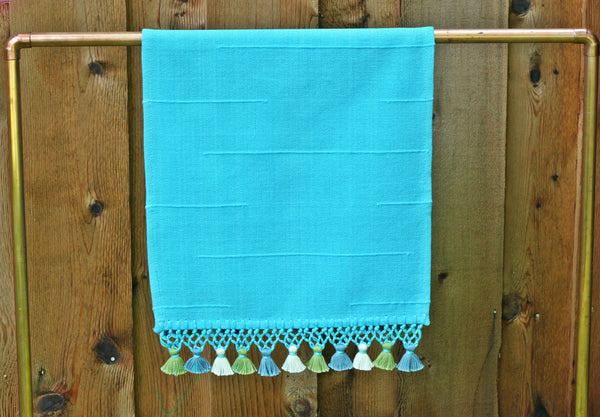 Joya Hand Towel with Mini Poms, Turquoise