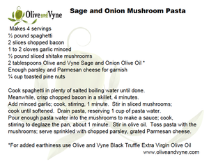 Olive oil pasta recipe from Olive and Vyne, Eagle Idaho