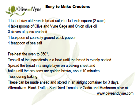 Olive oil crouton recipe from Olive and Vyne, Eagle Idaho
