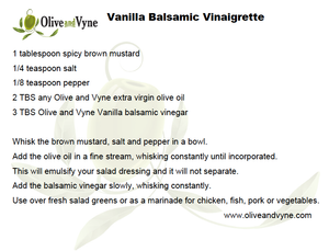 Vanilla balsamic vinegar recipe from Olive and Vyne in Eagle Idaho