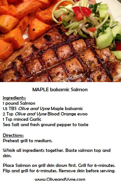 Maple balsamic salmon recipe from Olive and Vyne, Star Idaho