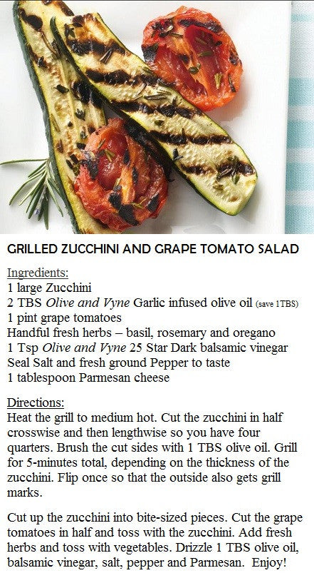 Recipe for Zucchini - Olive oil and Balsamic Vinegar - Serving Eagle, Star, Middleton, Caldwell, Emmett, Kuna, Nampa, Boise and more.
