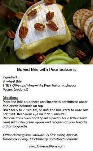 Olive and Vyne Pear balsamic brie recipe