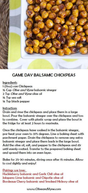 Olive and Vyne Huckleberry balsamic chickpea recipe
