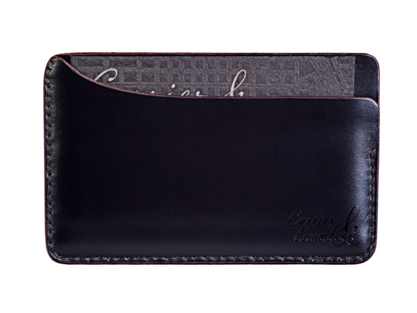 Three slot horizontal wallet, black Horween Chromexcel - Currier & Beamhouse