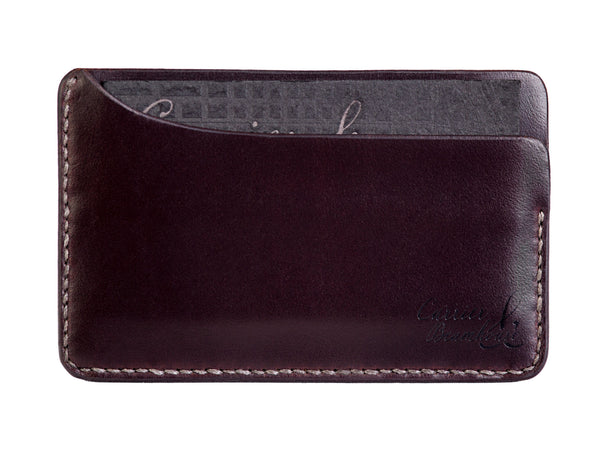 Three slot horizontal wallet, burgundy Horween Chromexcel - Currier & Beamhouse