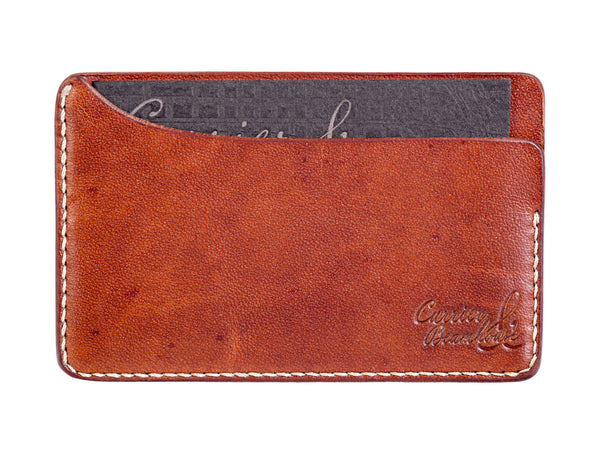 Three slot horizontal wallet, tan Horween Dublin - Currier & Beamhouse