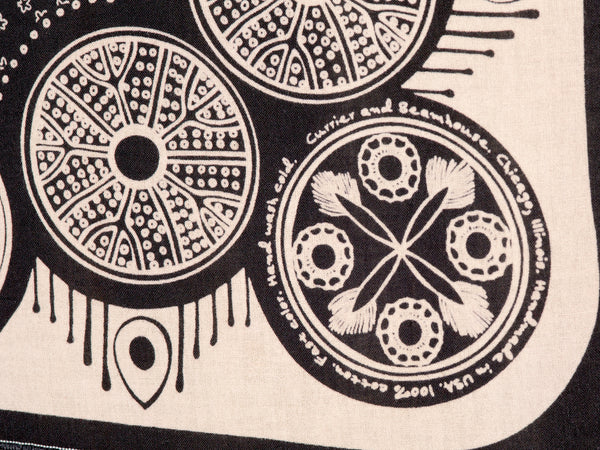Diatoms - screen printed bandana, black cotton - Currier & Beamhouse