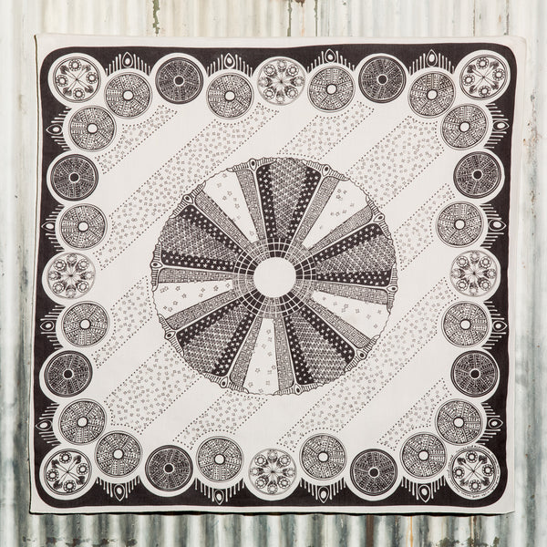 Diatoms - screen printed bandana, ecru cotton - Currier & Beamhouse