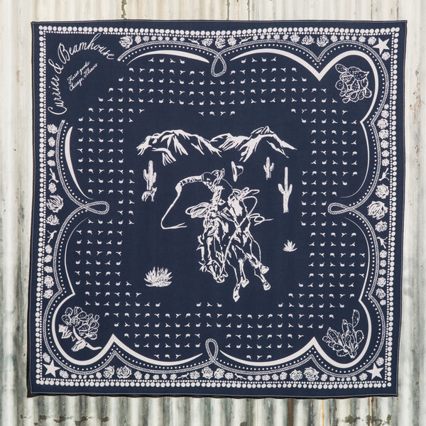 Sonora - screen printed cowboy bandana, navy cotton - Currier & Beamhouse