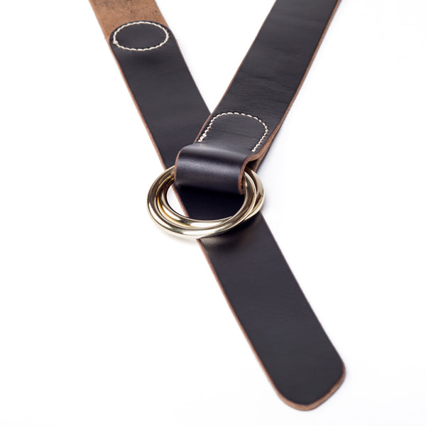 "1 ¼"" double ring belt, black Horween Chromexcel - Currier & Beamhouse"