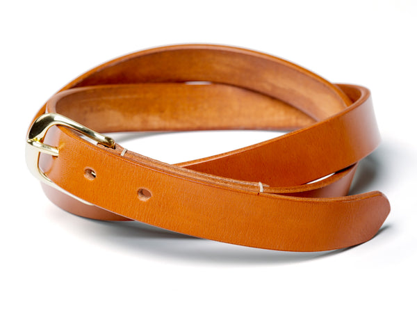 "1"" skinny buckled belt, tan English bridle - Currier & Beamhouse"