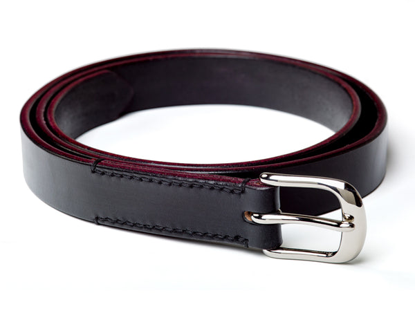 "1"" skinny buckled belt, black English bridle - Currier & Beamhouse"