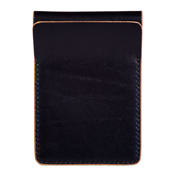 Two slot vertical wallet, black Horween Chromexcel - Currier & Beamhouse