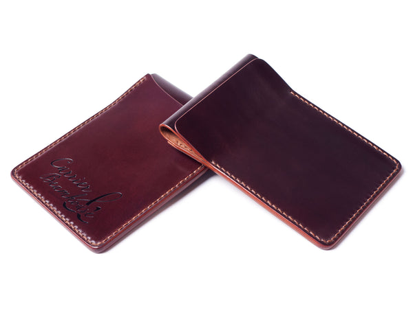 Two slot vertical wallet, burgundy Horween shell cordovan - Currier & Beamhouse