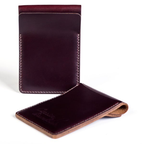 Two slot vertical wallet, burgundy Horween Chromexcel - Currier & Beamhouse